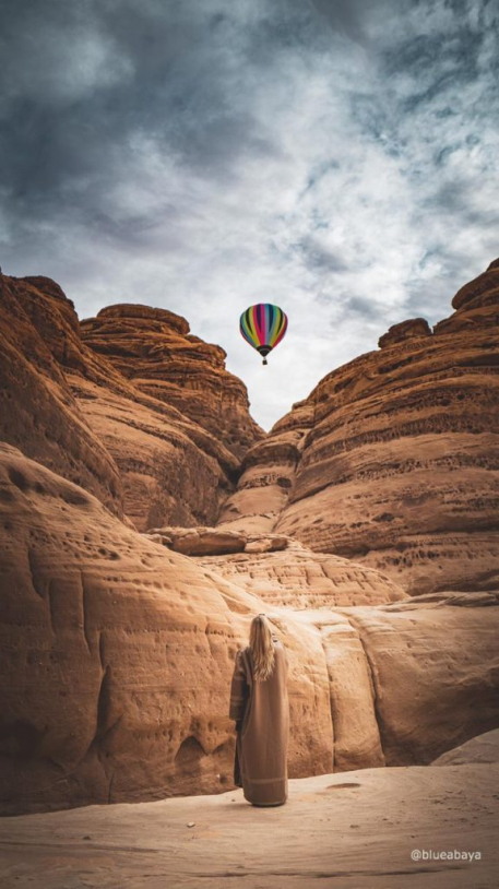 hot air balloon, saudi, alula , winter at tantora festival