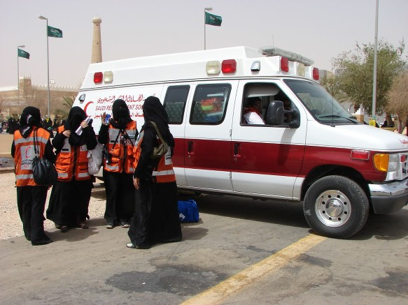 saudi female red crescent ambulance