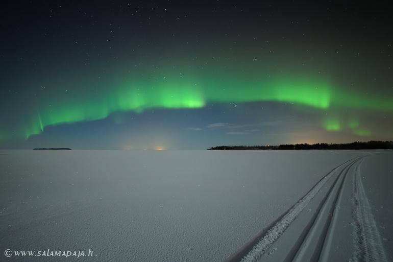 Magnificent auroras over the frozen Baltic Sea.